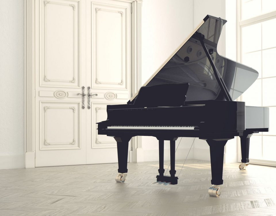 Piano in an empty classic room